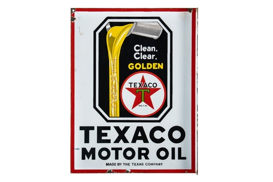 Texaco Motor Oil Clean Clear Golden Flange Sign