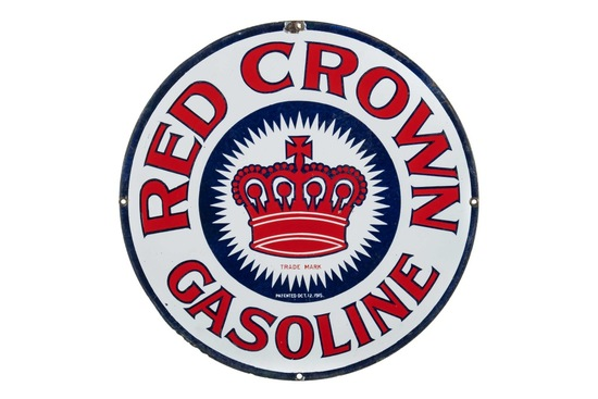 Early Red Crown Gasoline Porcelain Sign