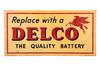 Mobil Oil Delco Battery Tin Sign