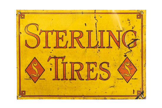 Early Sterling Tires Tin Sign