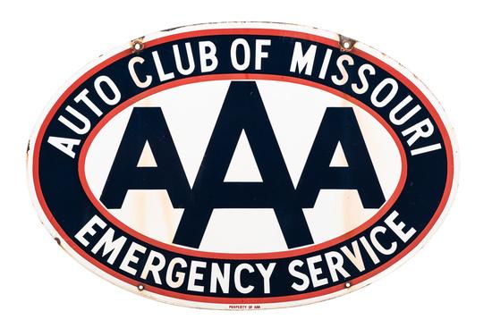 Aaa Auto Club Of Missouri Porcelain Sign