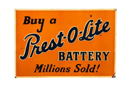 Prest-o-lite Batteries Tin Sign