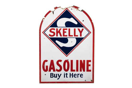 Skelly Gasoline Porcelain Tombstone Sign
