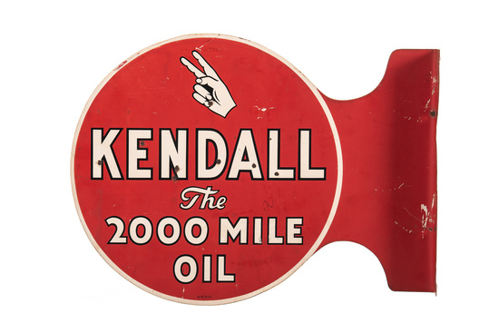 Kendall Motor Oil Tin Flange Sign