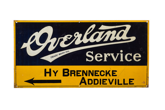 Early Overland Service Tin Sign