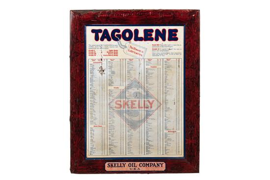 Rare Skelly Tagoline Motor Oil Tin Sign