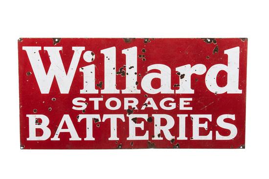 Willard Storage Batteries Porcelain Sign