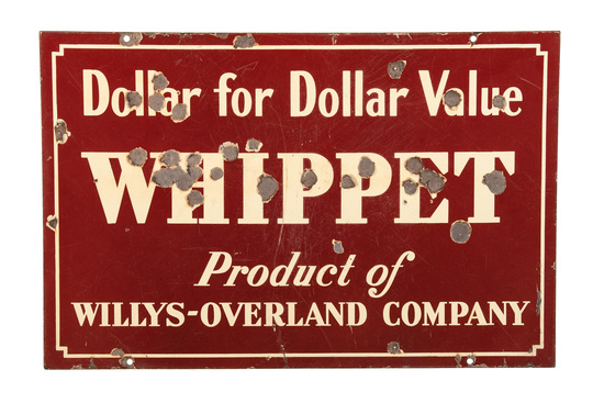 Early Whippet Willys Overland Porcelain Sign