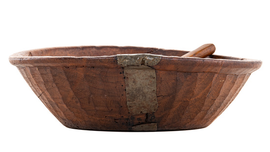 Large Wooden Bowl With Scoop
