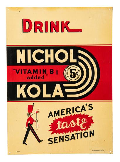 Drink Nichol Kola America's Taste Sensation Sign