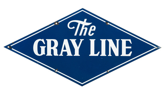 The Gray Line Bus Sign