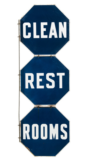 Clean Rest Room 3 Panel Flange Sign