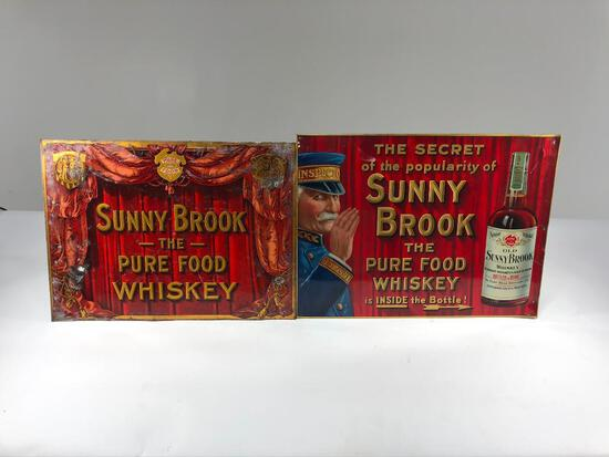 Lot Of 2 Sunny Brook Whiskey Signs
