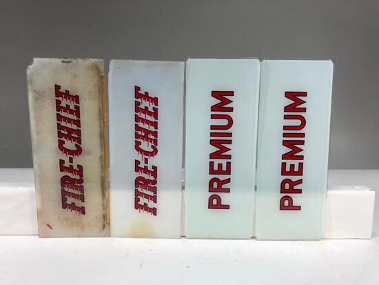 Lot of 4 gas pump add glass Premium Fire Chief