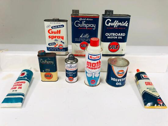 Lot of 9 various Gulf Phillips 66 cans