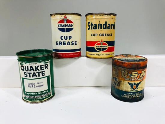 Lot of 4 various one pound grease cans