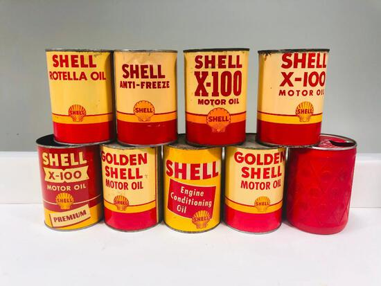 Lot of 9 various Shell one quart oil cans