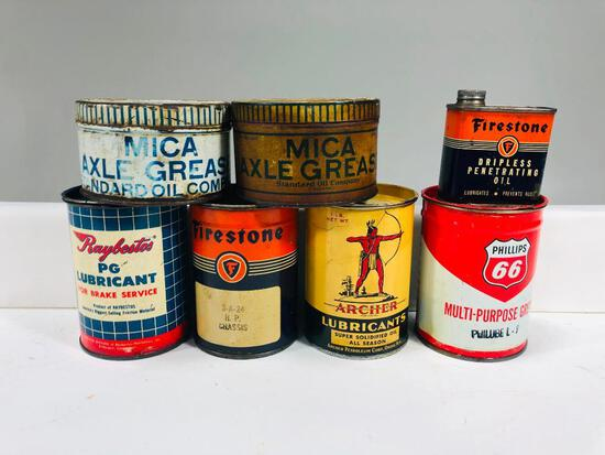 Lot of 7 various grease and oil tins Phillips 66 Raybestos Firestone