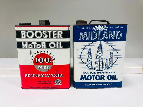 Lot of 2 different two gallon oil cans