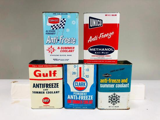 Lot of 5 various one gallon anti freeze cans Gulf Clark Unico