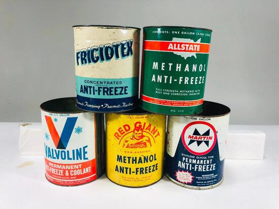 Lot of 5 various one gallon anti freeze cans Martin Red Giant Valvoline