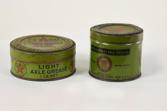 Two Different Early Texaco Grease Tins