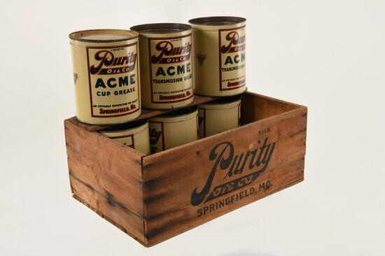 Lot Of 6 Independent Purity 5 Lb Cans W/Crate