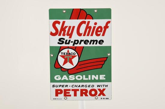 "Texaco Sky Chief Su-preme 12""X8"" Gas Pump Plate"