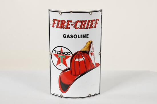 Curved Texaco Fire Chief Sign