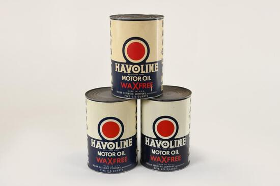 Lot Of 3 Havoline Wax Free 5 Quart Oil Cans