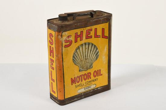Early Embossed Shell One Gallon Oil Can