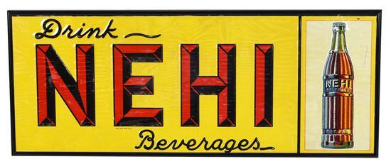 Drink Nehi Beverages w/Bottle Metal Sign