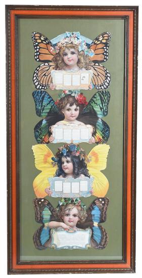 1904 Christian Herald Calendar Girls w/Butterfly Wings