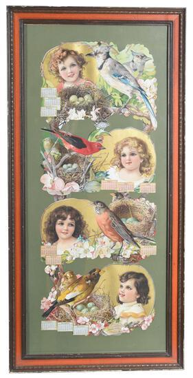 1905 Christian Herald Calendar w/Girls & Song Birds