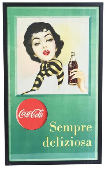 """Italian Coca-Cola Poster """"Sempre deliziosa"""" w/Lady holding a bottle"""