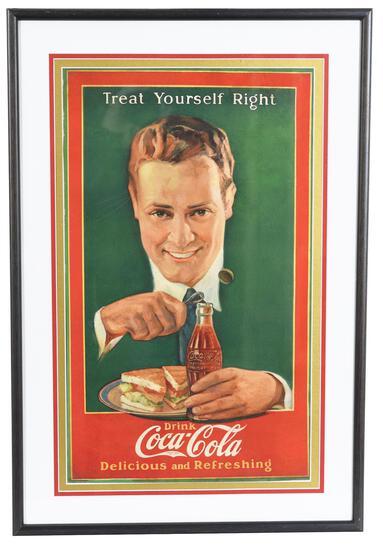 "1920's Coca-Cola ""Treat Yourself Right"" Poster Ad"