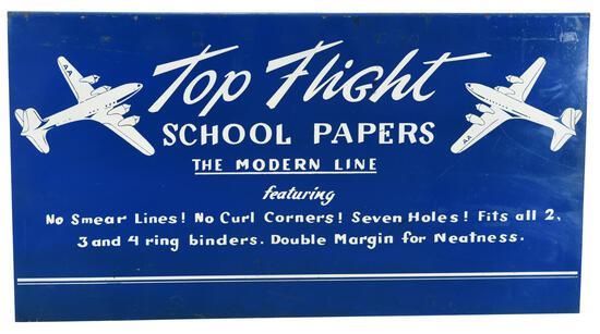 Top Flight School Papers w/Planes Metal Sign