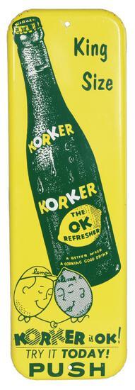 Korker King Size w/Bottle Metal Door Push Sign