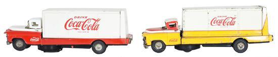 2-Japanese Tin Litho Battery Op Drive Coca-Cola Trucks