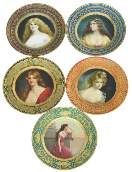 5-Vienna Art Styled Plates w/Pretty Lady's