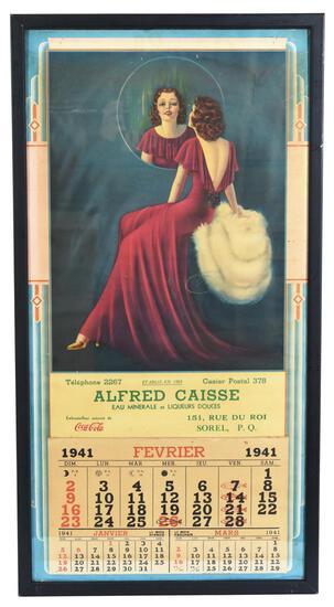1941 French Coca-Cola Calendar w/Lady Looking into a Mirror