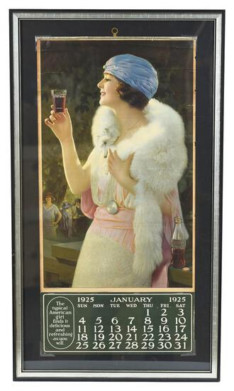 1925 Coca-Cola Calendar Lady in Fur with Glass
