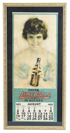 1925 Drink Lime Cola w/Lady Holding a Bottle