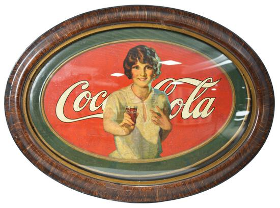 Coca-Cola w/Lady Holding Out a Glass of Coke Metal Sign