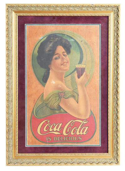 Early TOC Coca-Cola is Delicious Decal w/Lady Drinking a Coke