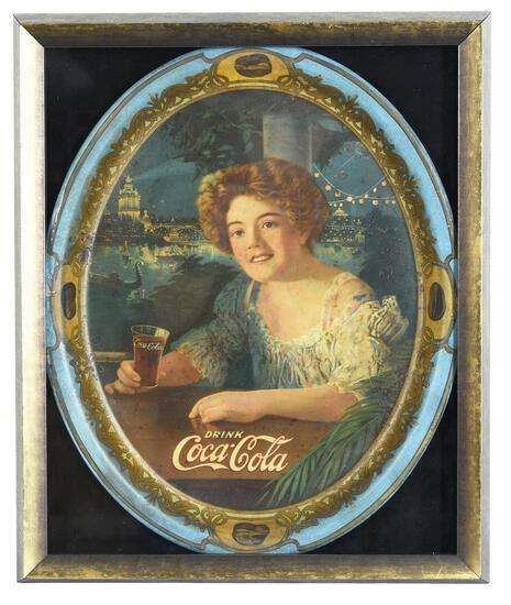 1909 Coca-Cola Oval Serving Tray Exhibition Girl