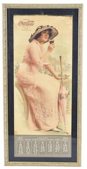 1915 Coca-Cola Calendar Elain Seated Drinking a Coke