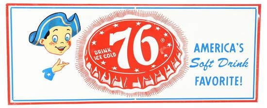 """Drink Ice Cold 76 """"America's Soft Drink Favorite!"""" Sign"""