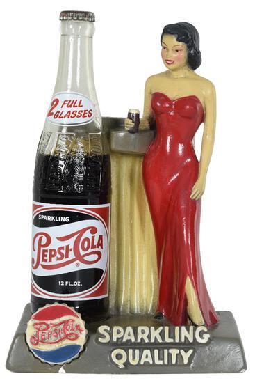 "Pepsi:Cola ""Sparkling Quality"" Chalkware Bottle Holder"