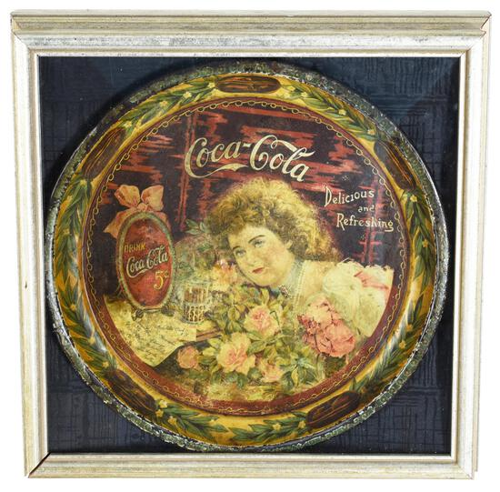 1901 Coca-Cola Round Serving Tray Hilda with Roses